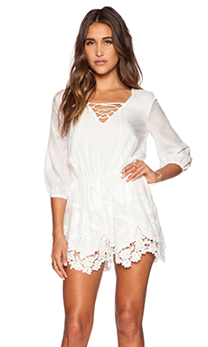 LIV Arie Lace Up Romper in Ivory