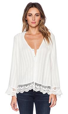LIV Sarna Lace Button Up in Linen