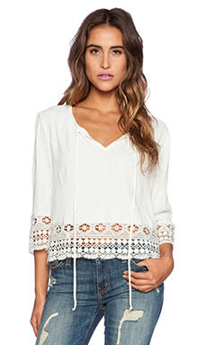 LIV Vicky 3/4 Sleeve Lace Top in Ivory