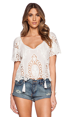 LIV Linda Eyelet Top in Ivory