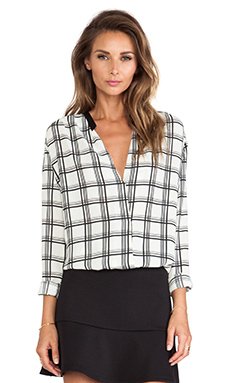 LIV Tiffany Crossover Blouse in Plaid