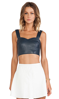 LOVE LEATHER Not So Sweetheart Top in The Navy