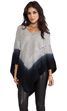 Lisa Maree Days End Crochet Hooded Poncho in Acid Black Ombre