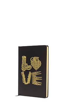 Lauren Moshi Square Love Notebook in Black & Gold