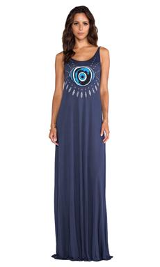 Lauren Moshi Lex Evil Eye Deep Back Maxi Dress in Navy