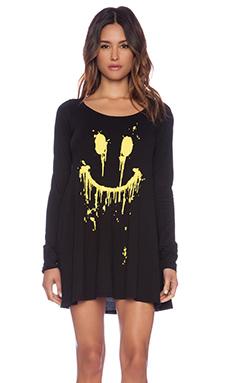 Lauren Moshi Fiona Dripping Happy Face T-Shirt Dress in Black