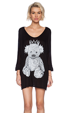 Lauren Moshi Milly Crystal Bear Oversized Dress in Black