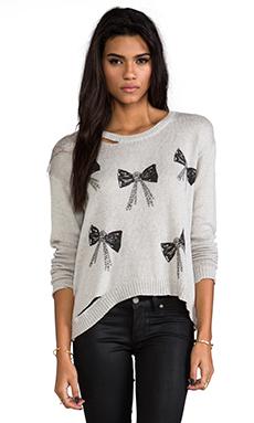 Lauren Moshi Jewel Mini Chain Bows Sweater in Grey