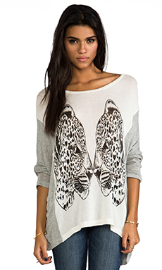 Lauren Moshi Nina Large Mirror Leopards Sweater in Natural & Heather Grey