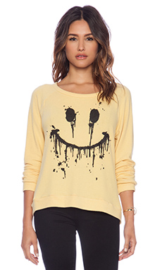 Lauren Moshi Brenna Dripping Happy Face Pullover in Pineapple