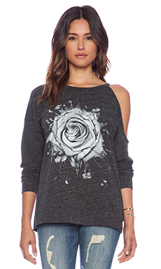 Lauren Moshi Quinn Watercolor Rose Pullover in Charcoal