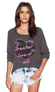 Lauren Moshi Brenna Greatest Love Longsleeve Pullover in Black