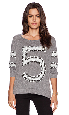Lauren Moshi Brenna Chain 5 Longsleeve Pullover in Heather Grey