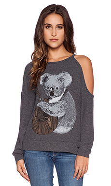 Lauren Moshi Quinn Koala One Shoulder Open Pullover in Black