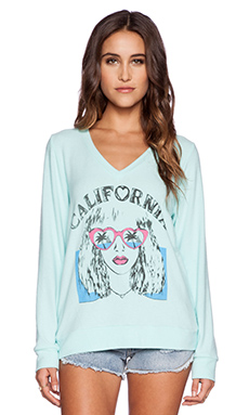 Lauren Moshi Eleanor Cali Girl V Neck Pullover in Light Mint