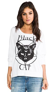 Lauren Moshi Jet Black Cat Sweatshirt in White