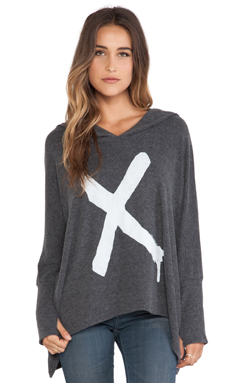 Lauren Moshi Wilma Oversized Pullover with Hood in Black