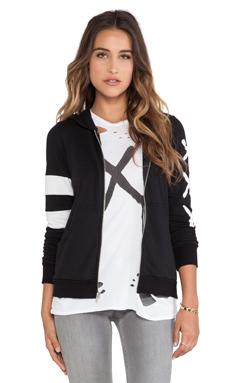 Lauren Moshi Beth Zip Up Hoodie in Black & White