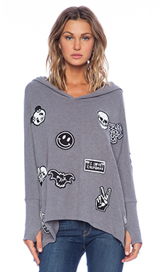 Lauren Moshi Wilma Oversized Pullover with Hood in Asphalt