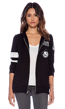 Lauren Moshi Beth Zip Up Hoodie in Black & White