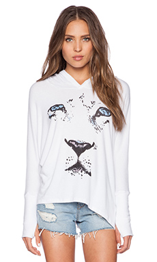 Lauren Moshi White Tiger Wilma Hoodie in White