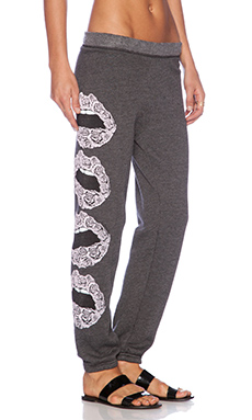 Lauren Moshi Gia Rose Lips Long Sweatpant in Black