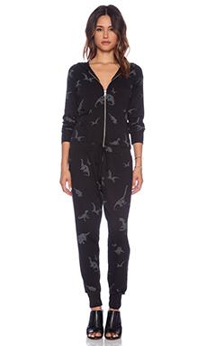 Lauren Moshi Luna Dino Zip Up Hoodie Jumpsuit in Black