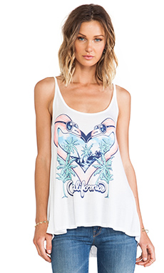 Lauren Moshi Zena Flamingo Heart Tank in White