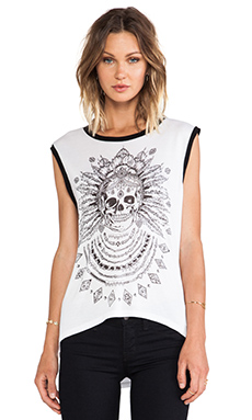 Lauren Moshi Zink Feather Chain Skull Tank in White & Black