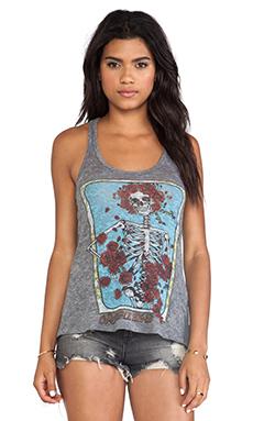 Lauren Moshi Nancy Grateful Dead Rose Skull Tank in Heather Grey