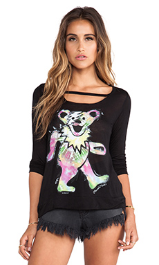 Lauren Moshi Logan Tie Dye Bear Top in Black