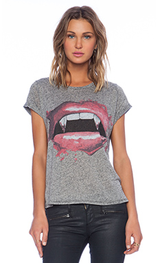 Lauren Moshi Edda Vintage Roll Up Tee in Black