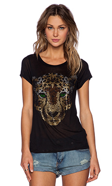 Lauren Moshi Amelie Crystal Leopard Head Tee in Black