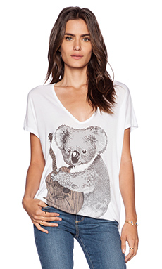 Lauren Moshi April Oversized Koala V Neck Tee in White