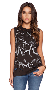 Lauren Moshi Roxanne Vintage Maniac Muscle Tee in Faded Black