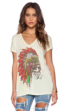 Lauren Moshi April Skull Headdress Oversized V Neck Tee in Sunbeam