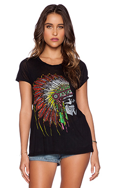 Lauren Moshi Amelie Skull Headdress Short Sleeve Tee in Black