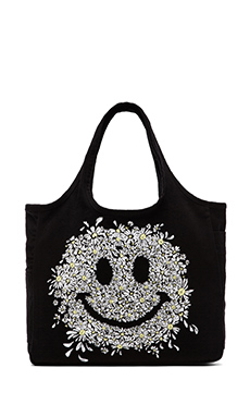 Lauren Moshi Taylor Small Color Daisy Happy Face Canvas Tote in Black