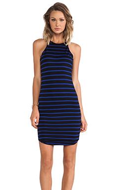 LNA Elisa Dress in Black & Blue Stripe