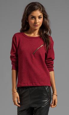 LNA Carter Zip Sweater in Rouge