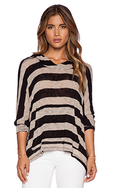 LNA Stripe Cape Hoodie in Tan & Black