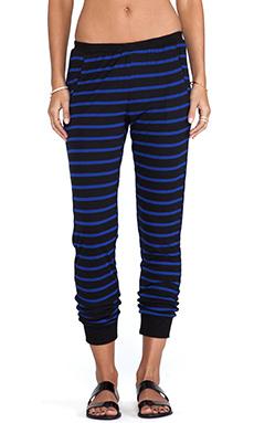 LNA Aldridge Pant in Black & Blue Stripe
