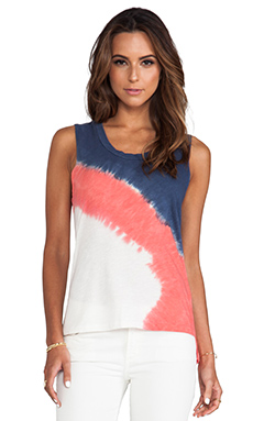 LnA Cecile Tank in Blue & Red Dip Dye