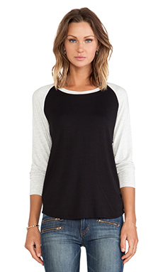 LNA Vintage Baseball Tee in Black & Ash
