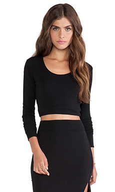LNA Glasson Crop Top in Black