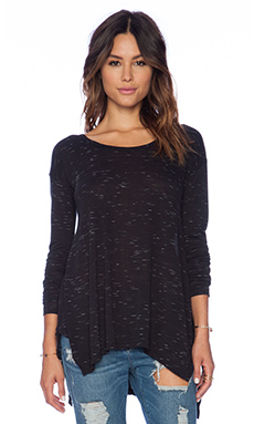 LNA Coast Long Sleeve Top in Black