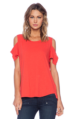 LNA Open Shoulder Tee in Ruby