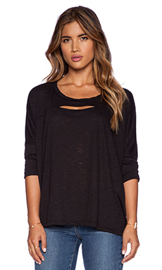 LNA Cut Out Cape Tee in Black