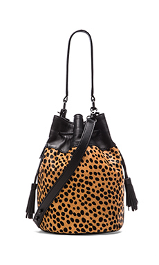 Loeffler Randall Industry Bucket Bag in Cheetah & Black