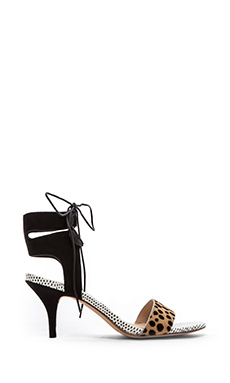 Loeffler Randall Ambrose Calf Hair Sandal in Cheetah & Black